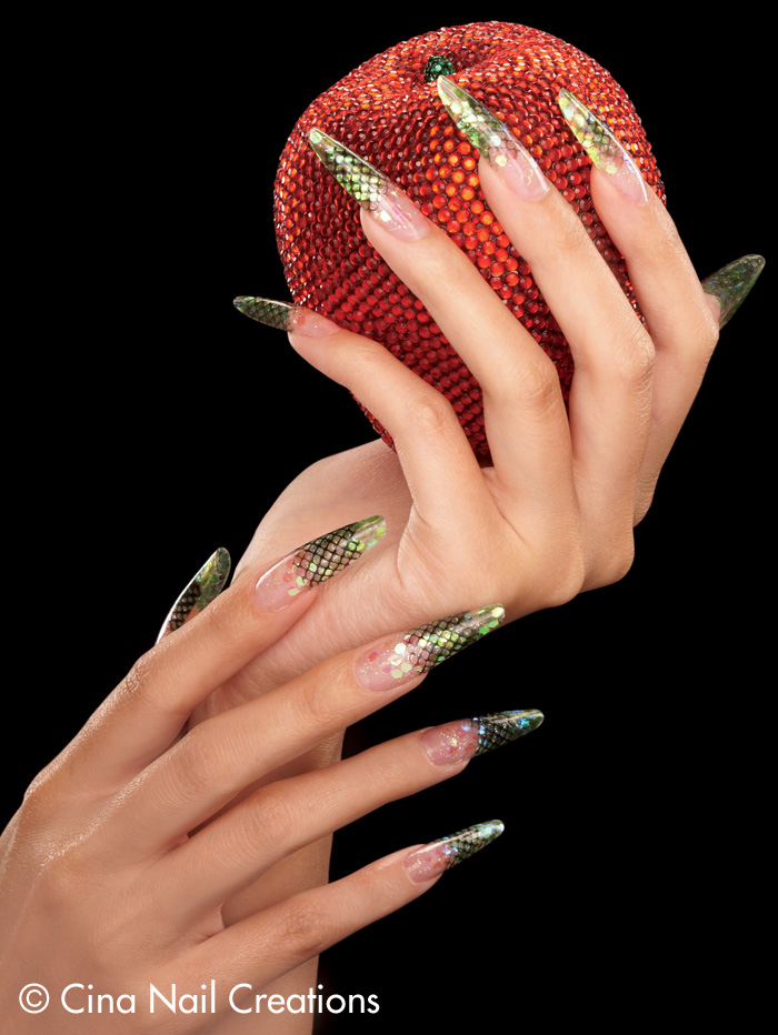 Nails Mag Dec 08 Feature Acrylic Fall Leaves Snake Le Hands